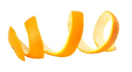 fresh orange peel isolated on white background