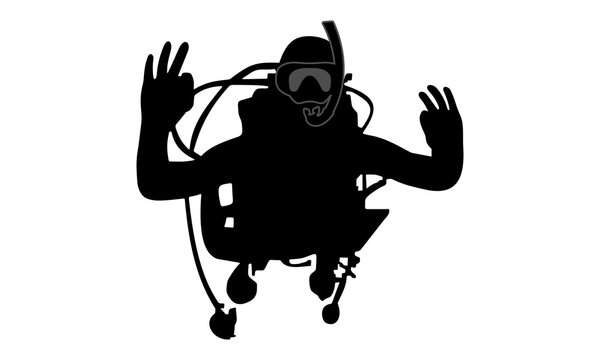 vector image of a divers silhouette I