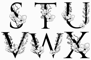 Vector Hand Drawn floral uppercase letters monograms