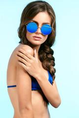 Beautiful Woman In Stylish Sunglasses In Summer.