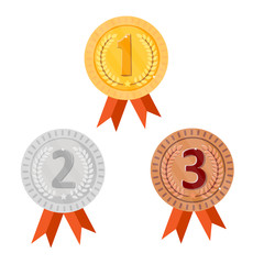 Champion gold, silver and bronze award medals with red ribbons. Round icon victory. Isolated on white background. Vector