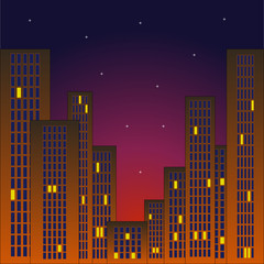 Morning business quarter with skyscrapers with red sky and stars