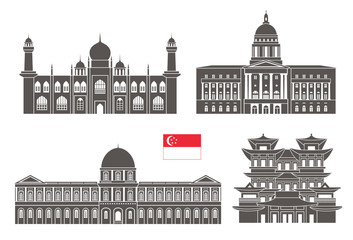 Singapore set. Isolated Singapore architecture on white background