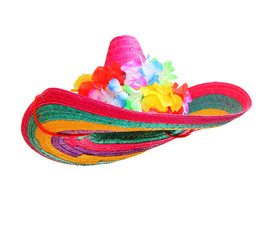 Colorful sombrero with hawaian flowers isolated on white background.