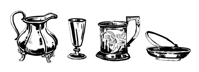 Hand drawn outline ink set of old decorative metal utensils
