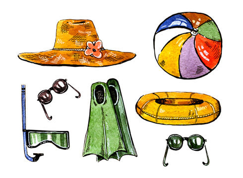 Summer swimming accessories. Hat, flippers, snorkle, ball, ring and glasses. Hand drawn watercolor set