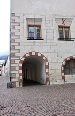 Typical architecture of the town of Glorenza in South Tyrol, Val Venosta (Italy)