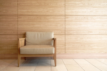 A chair modern wood frame with wooden wall for copy space. Minimal interior