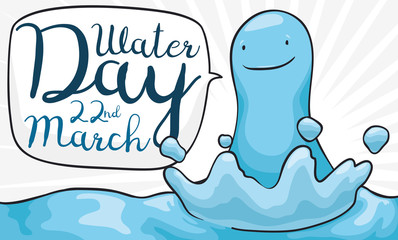 Happy Water Droplet with Speech Bubble for World Water Day, Vector Illustration