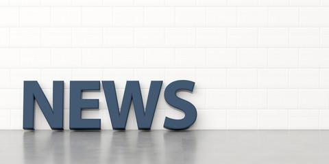 Schriftzug Text News steht vor einer Kalksandsteinmauer - Konzept Kommunikation Marketing PR Public Relations
