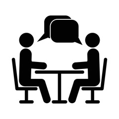 Two people at the table icon. Icon Conference. Vector illustration