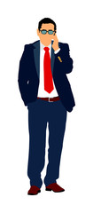 Confident leader walking. Businessman on work vector illustration. Senior business man in suit, with mobile phone in hands in office. Manager explains the work process to bank manager for loan.
