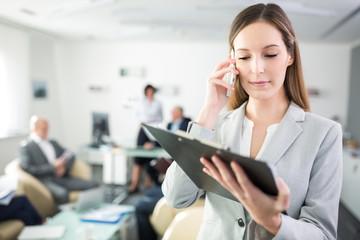 Junge Business Frau kontrolliert Checkliste