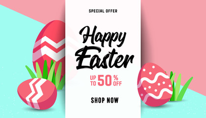 Composition of Easter sale card template