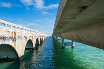 USA, Florida, Ocean water under the Seven Mile Bridge