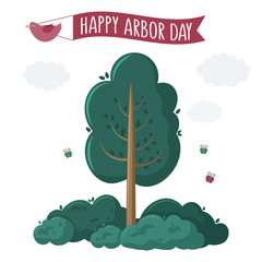 Arbor Day. Picture of a tree. Vector illustration for a holiday. Symbol of arboriculture, forests, agriculture. Space for text