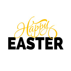 Happy Easter lettering with two fonts