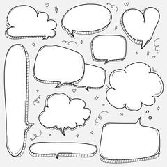 Hand Drawn Bubbles Set. Doodle Style Comic Balloon, Cloud, Heart Shaped Design Elements.