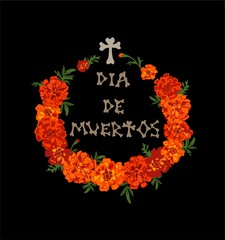 T-shirt print for Day of dead with red and orange marigold wreath and dia de muertos hand drawing lettering