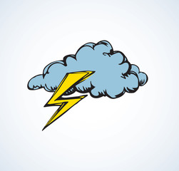 Cloud with lightning. Vector illustration