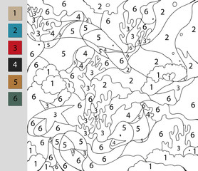 Coloring by number, education game. A challenge for junior schoolchildren. Vector file contains a layer witn the answer.