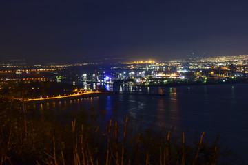 Varna city at night. The city has a gold treasure of the Chalcolitha, which is believed to be the world's oldest gold treasure