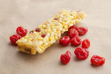 muesli bar with dry cherry
