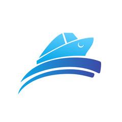 Ocean Ship - sign concept. Sea boat illustration. Vector logo template.