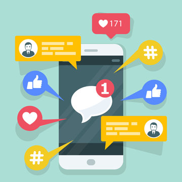 Viral content, smm and social activity - likes, shares and comments popping up on the mobile screen.
