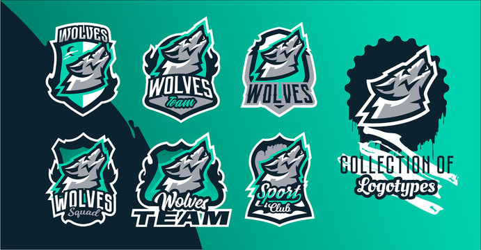Collection of colorful emblems of the howling wolf. Logo, badge of the wild beast, dangerous animal, aggressive predator. Identity sports club, vector illustration