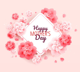 Happy Mothers Day background with flowers - vector illustration