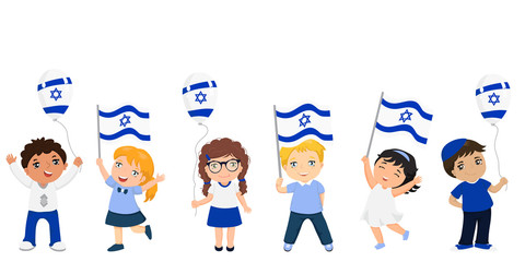 children holding Israeli flags. celebrating Israel independence day