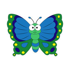Cute cartoon butterfly. Vector illustration isolated on white ba