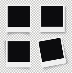 Set of photo frame. Retro Photo Frame Template for your photos. White plastic border on a transparent background. - stock vector.