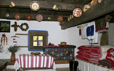 Kiev, Ukraine - 08.10.2005. Traditional interior of the ancient Ukrainian hut