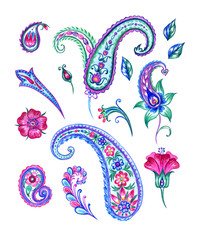 Set of paisley patterns, watercolor pattern on white background, isolated with clipping path.