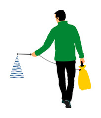 Gardener sprays pesticide vector illustration isolated. Farmer applying insecticide fertilizer to his vegetable using a sprayer.  Man watering plants or grass. Worker applying insecticide fertilizer.