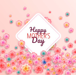 Happy Mothers Day background with flowers - vector