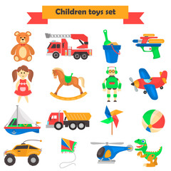 Set of different children's toys color flat icons