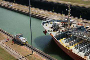 Ship crossing the Panama Canal, Miraflores Locks