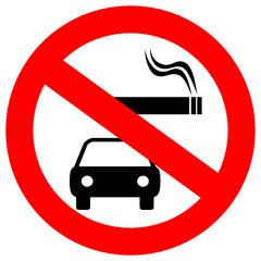 No smoking in vehicles vector sign