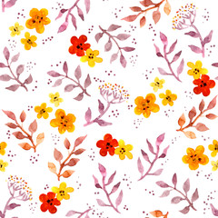 Seamless fantasy floral background with cute flowers. Watercolor painted