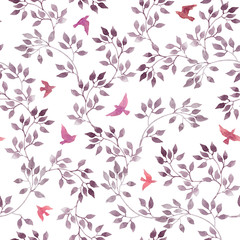 Seamless ditsy pattern - cute watercolor violet leaves, red and pink retro flying birds