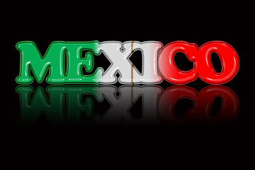 National color text illustration 'MEXICO' with special effect