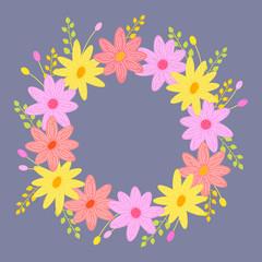 Colorful flower vector round frame. Illustration for spring design