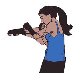 boxing woman, illustration on isolated white background