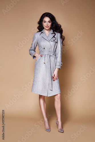 Beautiful Sexy Woman Wear Business Style Clothing For Office Casual Meeting Collection Accessory Cashmere Wool Coat