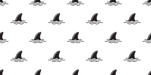 Shark fin seamless pattern vector dolphin whale isolated wallpaper background doodle