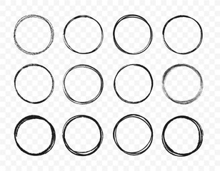 Set hand drawn circle line sketch set. Circular scribble doodle round circles for message note mark design element. Vector illustration on background.