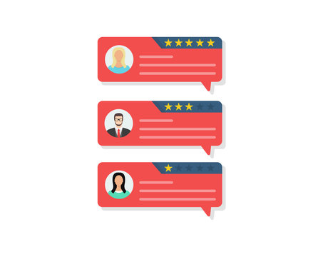 Customer review rating messages, online reviews or client testimonials, feedback, rating stars. Flat design, vector illustration.